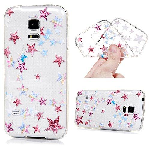 MAXFE.CO TPU Silikon Hülle für Samsung Galaxy S5 mini Handyhülle Schale Etui Protective Case Cover Rück mit Ultra slim Skin Volltonfarbe Design Skin Farbe Der fünfzackige Stern