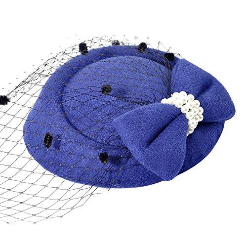 Stirnbänder Tea Party Blume Derby Hüte, Kleid Retro Dome Hut Blume, Vintage Haarnadel Kopfbedeckung, Retro elegante handgefertigte Kuppel Hut, mit schwarzem Schleier Perlenschleife ()