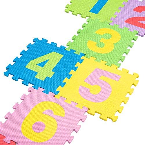 De alta calidad de BPA libre de puzzle con 9Juego Alfombrillas Números de 1–9, robusto Alfombra infantil de juego, kälteisolierende Juego Alfombrilla De Espuma, con acolchado de aislamiento, juego de Sonido, contra fríos suelos y suelo frío. COMO Gateo