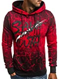 OZONEE Herren Kapuzenpullover Sweatshirt Langarmshirt Sweatjacke Motiv Pullover Print Hoodie JS/777/756B ROT M