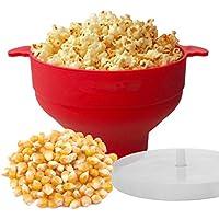 Popcorn Popper, Wanxida Cuenco Plegable de Silicona Microondas Palomitas de Maíz Popper con Tapa y Asas Cómodas y Resistentes BPA Libre, Recipiente para Hacer Palomitas de Maíz en el Microondas