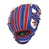 Wilson A200 MLB Logo T Baseball Handschuh, Linke Hand, 25,4 cm, A200, Royal Red