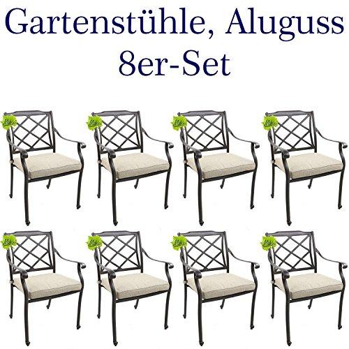 Made for us 8 Gartenstühle aus wetterfestem Aluguss mit UV beständiger AkzoNobel...