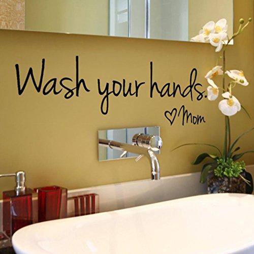 Boden Waschen (Fuibo Vinyl Kunst Wandmalerei Waschen Sie Ihre Hände Mom Home Decor Wandaufkleber Decal Schlafzimmer)