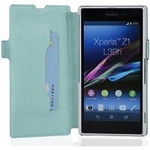 Cadorabo - Funda Book Style en Diseño FINO para Sony Xperia Z1 (L39h) - Etui Case Cover Carcasa Caja Protección con Tarjetero y Función de Soporte en AZUL