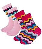 EveryKid Ewers 2er Pack Mädchensocken Sparpack Markensocken Socken Strümpfe Söckchen Zick Zack für Kinder (EW-201005-S17-MA1-0004-31/34) in Pink-Rosa, Größe 31/34 inkl Fashionguide