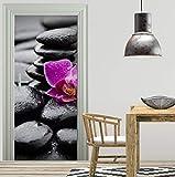 libby-nice Mural De La Puerta Flor De Zen En Las Piedras Papel Tapiz Mural Vinilo Decorativo Fotomural Foto Autoadhesivo 3D77 * 200