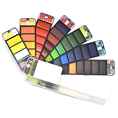 Aquarellfarben Wasserfarben set für Kinder Erwachsene, 42 Farben professionellen Tragbare Pocket Travel Watercolor Kit für Einsteiger Field Sketch Outdoor Malerei, Party Favor Geschenk (Color Scanner Portable)