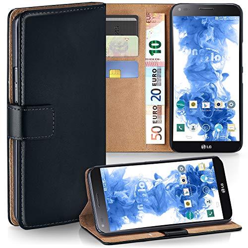 moex LG G Flex 2 | Hülle Schwarz mit Karten-Fach 360° Book Klapp-Hülle Handytasche Kunst-Leder Handyhülle für LG G Flex 2 Case Flip Cover Schutzhülle Tasche