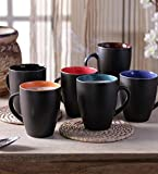 #7: La Lady Store Black Matt Finish Medium Size Multicolor Tea & Coffee Cups 220 Ml Set Of 6 Pcs (Microwave Safe)