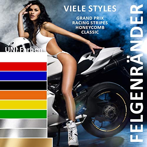 Bike Label Felgenrandaufkleber Set 700512 GP-Style Uni Farben Gold Metallic