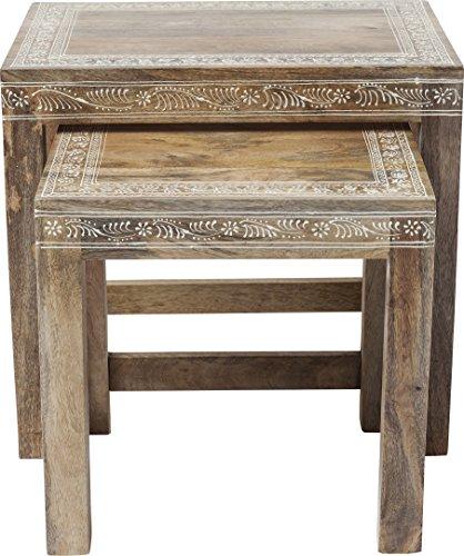 Kare Design Beistelltisch Desert Queen 2er Set, Couchtische mit weißen Ornamenten, Nachttische, Braun (H/B/T) 40x45x32cm