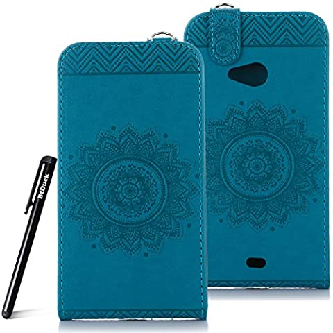 Case for Microsoft Lumia N535 wallet Embossed Flowers case,Nokia Lumia 535 Premium Ceramic pattern flip cover,BtDuck protective case Blue shell Retro Buddhism Solid color special Vertical opening skin Case for Open vertically Holster Full-body protection machine Totem Anti-scratch Shock Resistant Strong magnetic buckle Magnet Closure [with Lanyard Strap / Rope] Credit Card/Cash Holder Slot - Blue