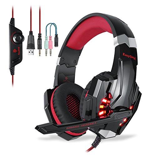 PS4 Gaming Kopfhörer, EasySMX Micro Stereo-Audio-Bass mit LED-Lampe Helligkeit, gut Anti-Noise, Handy-On-Line-Controller-Kopfhörer, kompatibel für neue Xbox One, PS4, PC, Laptop, Tablet und alle Smartphone (schwarz + rot)
