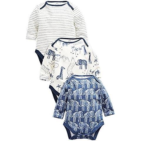 next Bebés Niños Paquete De 3 Bodies Monos Manga Larga Azul Marino Elefante Azul (0 Meses-2