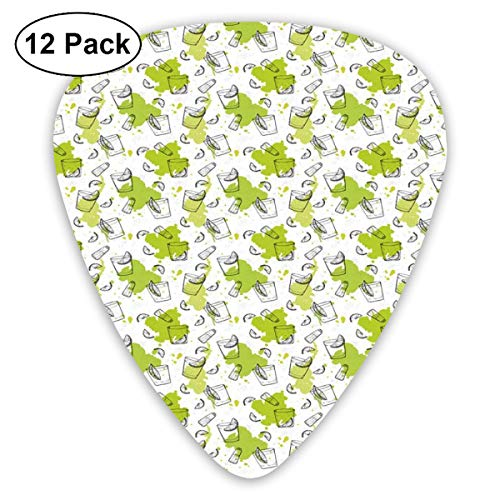 Celluloid Guitar Picks - 12 Pack,Abstract Art Colorful Designs,Outline Sketch Pattern Of Glasses Lemon Slices Salt Shaker,For Bass Electric & Acoustic Guitars.