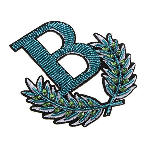 P Prettyia Gestickte Buchstaben B Flecken Eisen Nähen auf Applikationen mit Perlen Strass Kleidung Dekoration (Nähen Gestickte Auf Buchstaben)