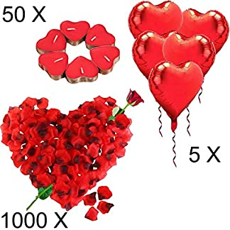Kit Romántico de Velas y Pétalos. 50 Velas en Forma de Corazón + 1000 Pétalos de Rosa Roja de Seda + 5 Globos Corazón Rojo – Decoración para Bodas, San Valentín y Compromiso