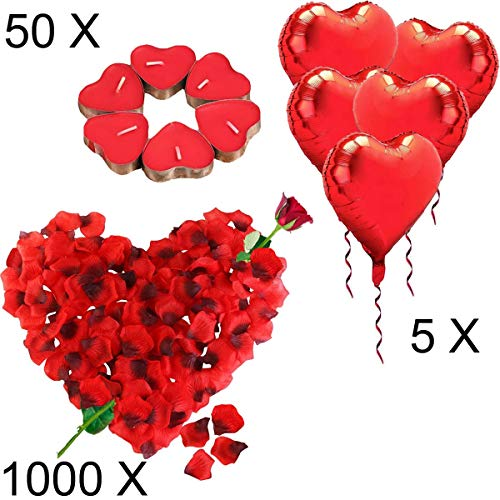 Jonami Romantische Deko Set Romantische Kerzen und Rosenblätter,50 Teelichter Herzform,1000 Seide Rote Rosenblüten,5 Rote Herzförmige Folienballons Dekoration für Hochzeit, Valentinstag Deko (Bett-blatt-rose)