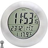 AMS 5929 Wanduhr Tischuhr Baduhr Funk Digital Wasserdicht mit Datum Thermometer