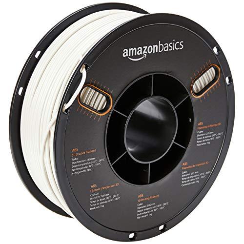 AmazonBasics - Filamento de ABS para impresora 3D, 2,85 mm, Blanco, 1 kg por bobina