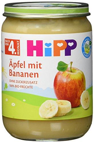 HiPP Früchte, Äpfel mit Bananen, 6er Pack (6 x 190 g)