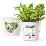 Facepot Geschenke für Omas - Blumentopf (ø16cm) mit Bilderrahmen für Zwei Fotos (10x15cm) - Kurz und knapp, ehrlich und klar: Oma du bist wunderbar!