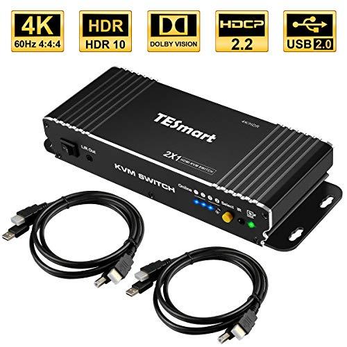 TESmart 2Fach HDMI KVM Switch,4K Ultra HD mit 3840 x 2160 bei 60 Hz 4:4:4;2 Stck 5ft/1,5m KVM-Kabel unterstützt USB-2.0-Gerätebedienung bis max. 2 Computer/Server/DVR (Schwarz)