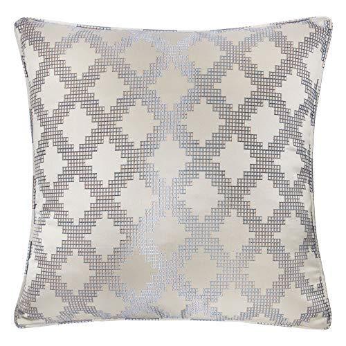 Homey Cozy Satin Jacquard Überwurf-Kissenbezug, Seiden-Serie, silberfarben, geometrisch, großes Sofa, Couch-Kissen, dekorativer Kissenbezug 50,8 x 50,8 cm, nur Bezug
