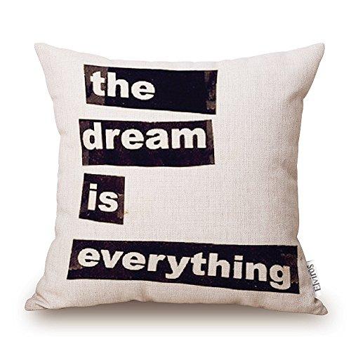 Elviros Dekorativ Baumwoll Leinen Mix Kissenbezug 45 x 45cm-The Dream Is Everything