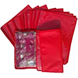 Kuber Industries 12 Piece Non Woven Single Saree Cover, Red