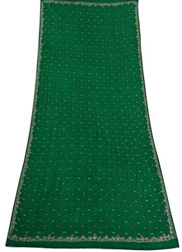 Hand wulstig Jahrgang Dupatta langen indischen Stola Poly Crepe Green Wrap Schleier Hijab (Wrap Crepe)