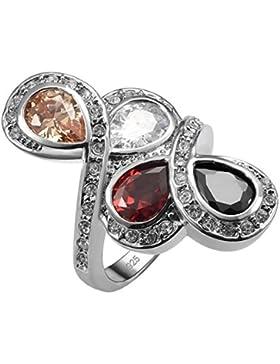 weinuo Morganit Granat 925Sterling Silber Onyx schwarz Ring Größe L1/2bis V1/2F1561
