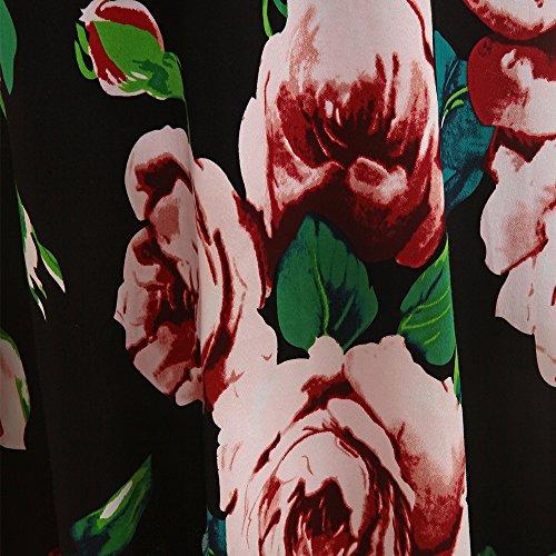ZAFUL Damen Ärmellos Vintagekleid V Ausschnitt Abendkleid Blumen Druckmustern Cocktailkleid Elegant Party Reizvolle Midi Kleid Grün
