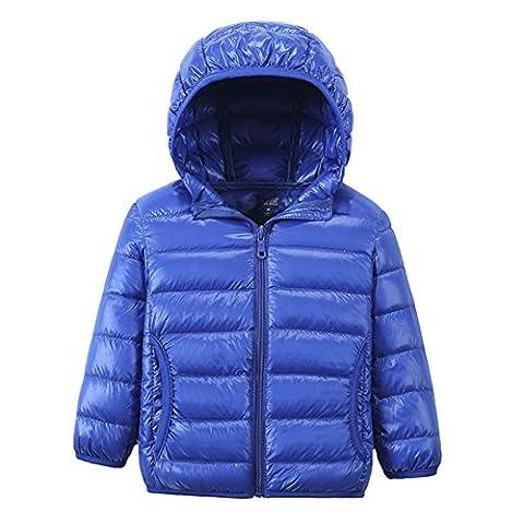 [Kinder Urtraleicht Steppjacke mit Kapuze] Kinder Daunenjacke Leicht Übergangsjacke Herbst Winter Jacket Wintermantel Mantel Parka Outerwear Blau160