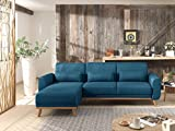 Bestmobilier - Vera - Canapé d'angle réversible Convertible au Style scandinave en Tissu - 256x88x149cm