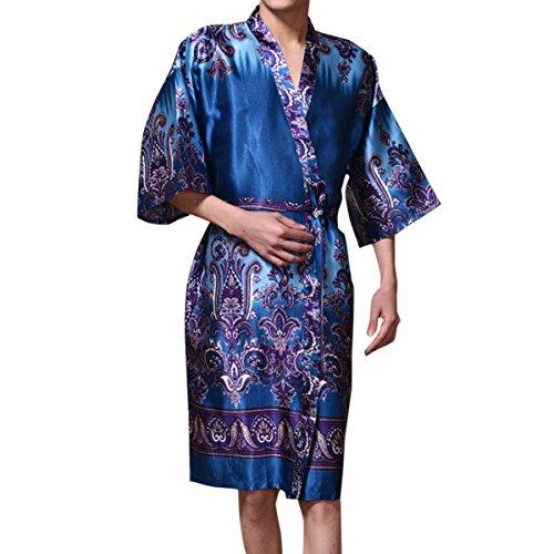 Sue&Joe Herren Bademantel, Geblümt Gr. Small, blau (Robe Belted Kimono)