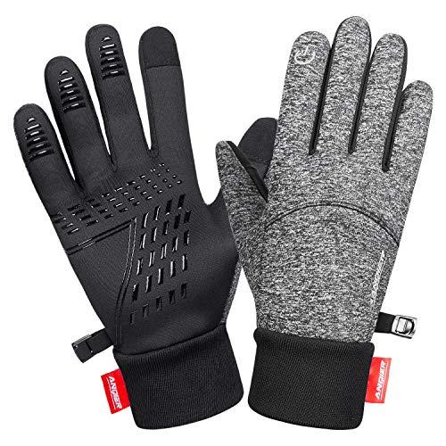 anqier Handschuhe Herren Damen Touchscreen Fahrradhandschuhe Winter Winddicht Winterhandschuhe Outdoor zum Laufen Wandern Reiten Bergsteigen