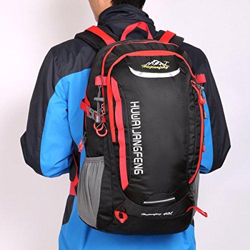 HWJIANFENG Zaino 40L Unisex Sportivo Viaggio Outdoor Trekking Bici Montagna Alpinismo Impermeabile Nero Zaino Porta PC Quotidiano Arancio nero