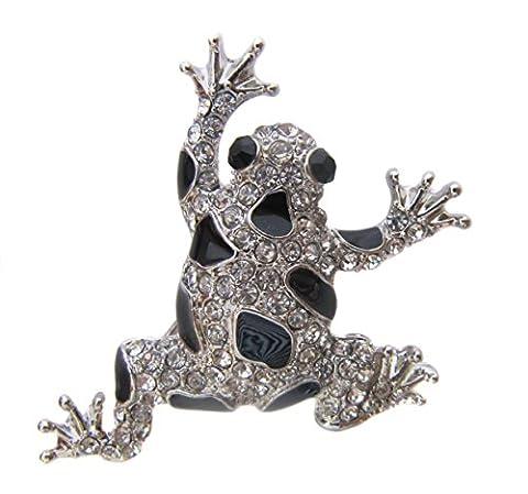 Boutique Brosche Silber schwarzer Kristall und Emaille-Brosche Frosch (Kristall Frog Pin)