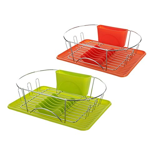 Escurreplatos 2/c hierro cromado 44 x 32 x 13 cm naranja y verde. (Verde)