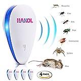 HAKOL Set di repellenti per parassiti ad ultrasuoni - Repellente elettronico per topi, ratti, insetti, ragni, cimici dei letti, zanzare, formiche e altro pacchetto da 4
