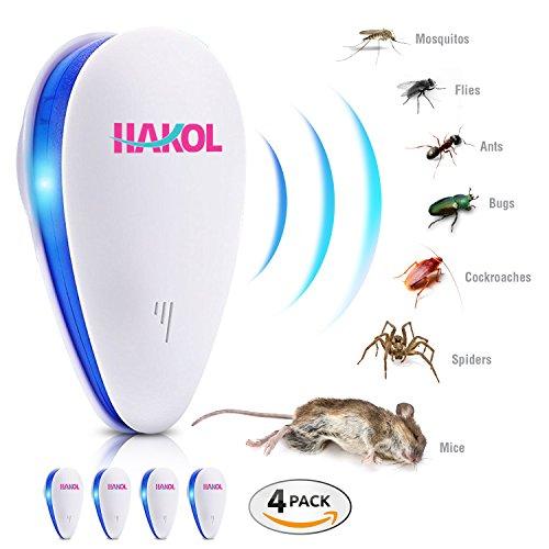 HAKOL Ultraschall-Parasitenabwehr-Set - Elektronisches Abwehrmittel für Mäuse, Ratten, Insekten, Spinnen, Wanzen, Mücken, Ameisen und andere 4er-Packs