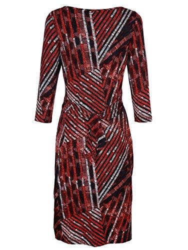 Damen Jerseykleid mit seitlicher Raffung by AMY VERMONT Rot/Schwarz/Weiß