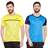 Masch Sports Mens Polyester Printed & Colourblocked T-Shirts- Pack of 2 (Yellow,Azure Blue & Navy Blue)