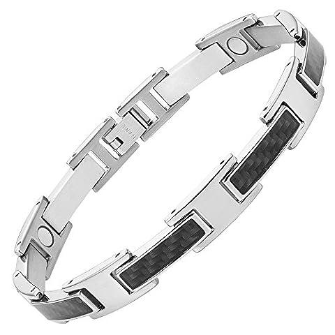 Willis Judd New Mens Titanium Magnetic Bracelet with Black Carbon Fibre In Black Velvet Gift Box + Free Link Removal Tool