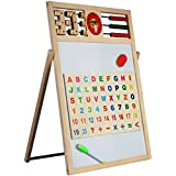 HALO NATION® 2 in 1 Writing Board Slate Double Sided Educational Board with Magnetic Alphabets Numbers Maths Learning Toy for Kids