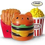 ThinkMax 3 Squishies Jumbo, Hamburger De Frites De Hamburger De Jouets De Hamburger, Jouet Souple De Squeeze De Soulagement De Nourriture De Kawaii pour des Enfants Et des Adultes