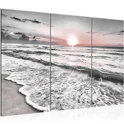 Bilder Sonnenuntergang Strand Wandbild 120 x 80 cm Vlies - Leinwand Bild XXL Format Wandbilder Wohnzimmer Wohnung Deko Kunstdrucke Rosa Grau 3 Teilig - MADE IN GERMANY - Fertig zum Aufhängen 023731b