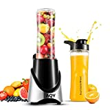 Mini Mixer, AQV Mix&Go Steel Standmixer/Smoothie Maker Elektrische Extractor Food Grinder Multifunktions Mixer Jar mit zwei 500ml Reise-Sport-Flaschen Plug & Play Schwarz Silber 4 Edelstahlmesser